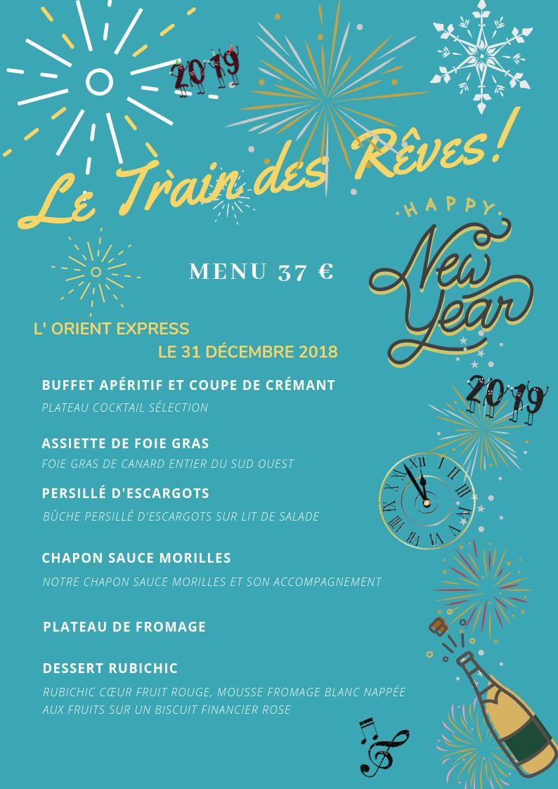 Pour le Jour de l'an nous organisons un repas de fête ainsi qu'une soirée ou vous êtes tous conviés à nous rejoindre pour s'amuser, danser et fêter la nouvelle année 2019 au Train des Rêves.